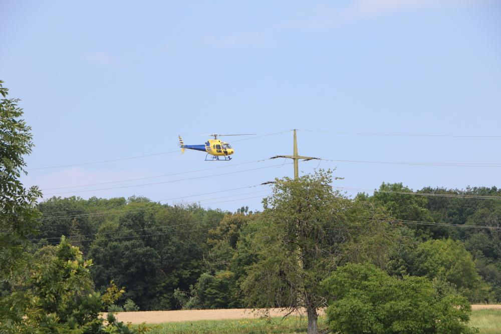 Bei der Leitungskontrolle schwebt der Hubschrauber meist 30 bis 90 Meter über dem Boden. Über Wohngebieten und weidenden Tieren fliegt er höher. (Foto: ED Netze)